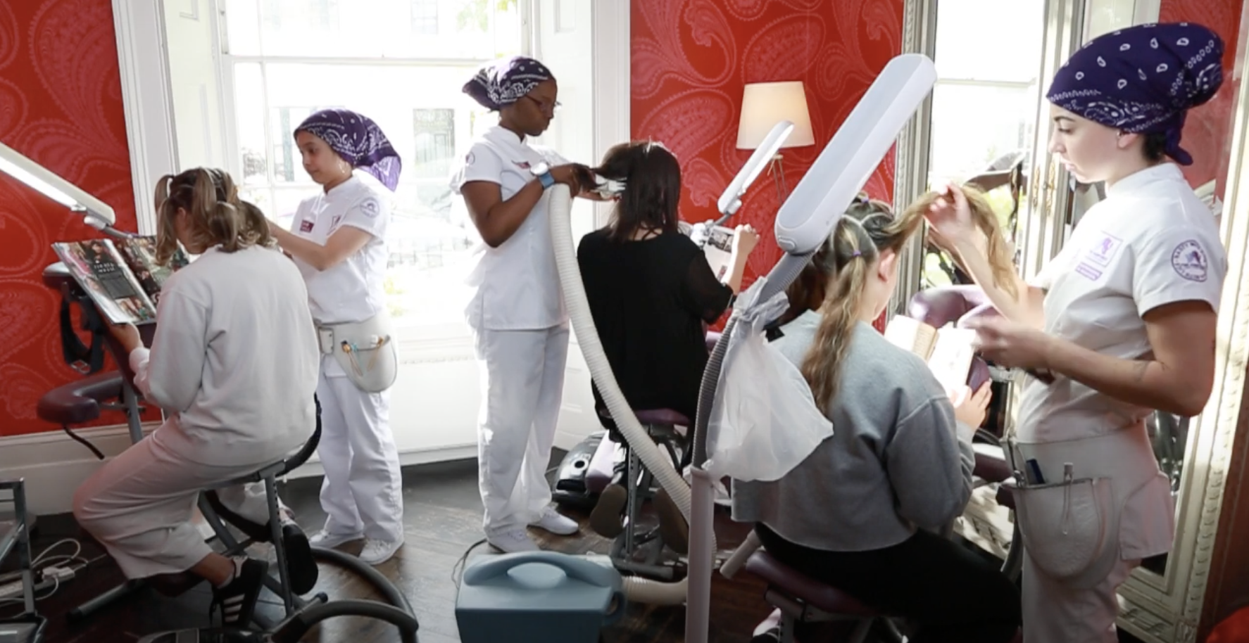 The Hairforce at work in a head lice removal clinic